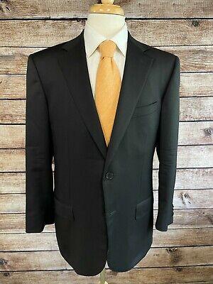 Ermenegildo Zegna Multiseason Wool Suit 44 R (36x28 pants) Solid Black Roma Fit