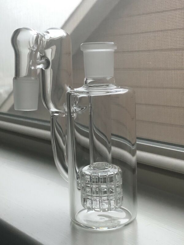 18MM Male Female Clear Matrix Recycler Glass Ash Catcher 90 Degrees Water Pipe