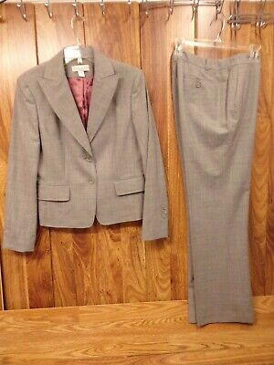 CASUAL CORNER 2-PC Pant Suit ~ Gray Wool Blend Work, Blazer (12) & Pants (10)