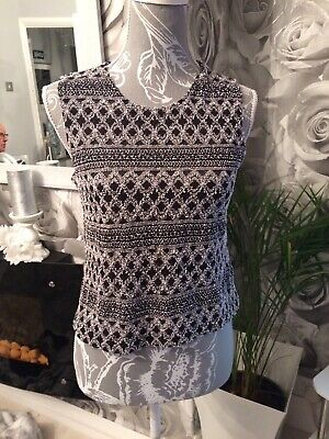Ladies Black/silver Sleeveless Top Jaipur (small Large) FREE DELIVERY