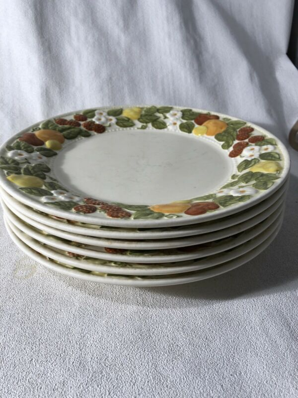 "Set Of Six Dinner Plates Vintage/Mid Century Vernon Ware PoppyTrail 10.5 "". 2D"