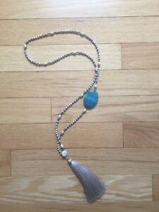 Beaded necklace with tassel & stone