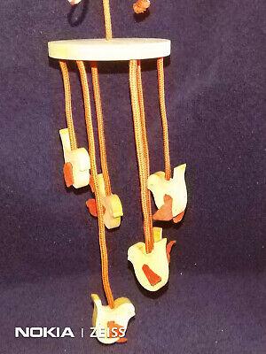 Vintage Aarikka Finland wooden hanging mobile with 6 birds