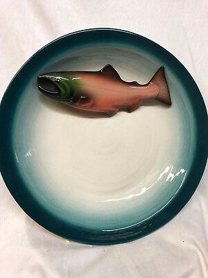 "ALASKA ORIGINALS BY CLAUDIA 12"" BOWL RAISED PINK SALMON FISH OFFSET BLUE TRIM"