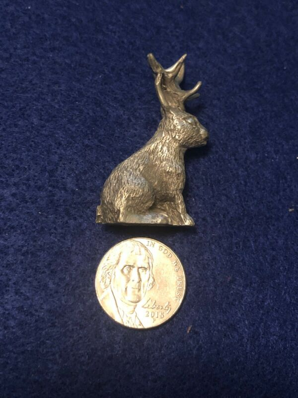 Vintage Miniature Pewter  Jackalope Animal