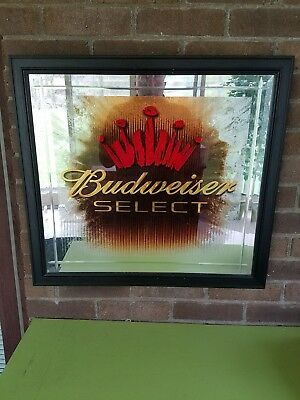 Budweiser Select bar mirror picture 24.5x22.5 mancave beer sign collector