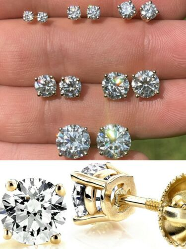 Solid 14k Yellow Gold Real Moissanite Stud Earrings Pass Diamond Tester 0.2-8ct