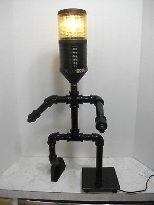 Steampunk Flashing Blinking Amber Beacon Light Lamp Walking Running Stick Man