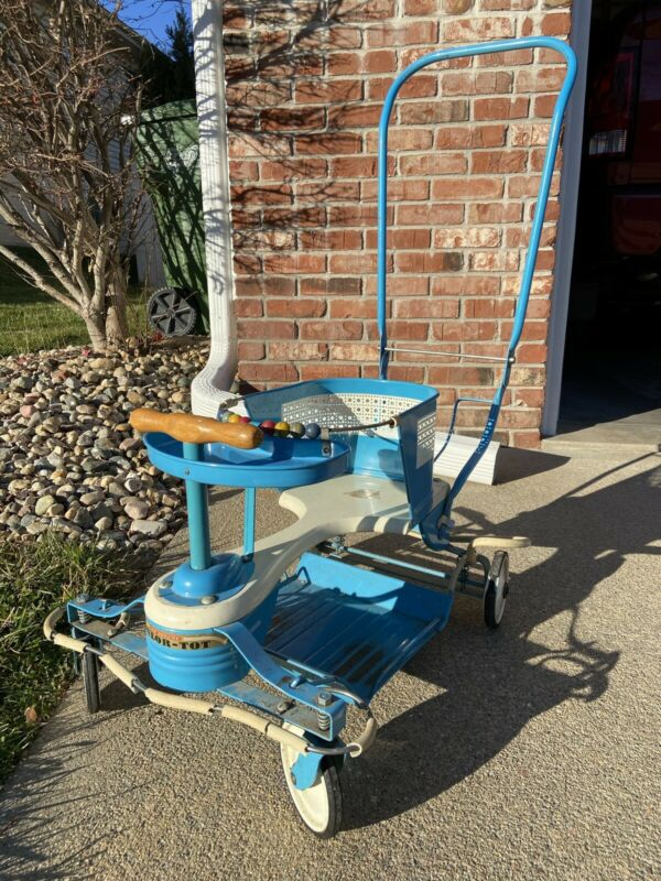 Vintage Taylor Tot Metal Stroller Walker Orginal 1953 Blue Delux With Fenders