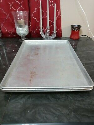 26x18 Commercial Kitchen Cooking Baking Sheet Pans Trays Lot Of 3 Pre-owned