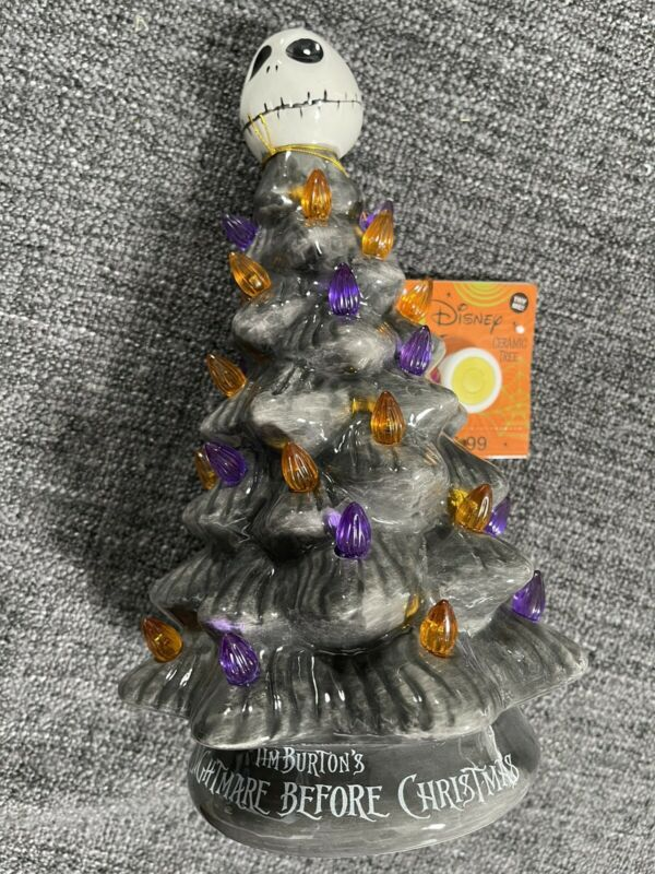 Disney Nightmare Before Christmas Ceramic Tree Lightup Jack Skellington RARE NWT