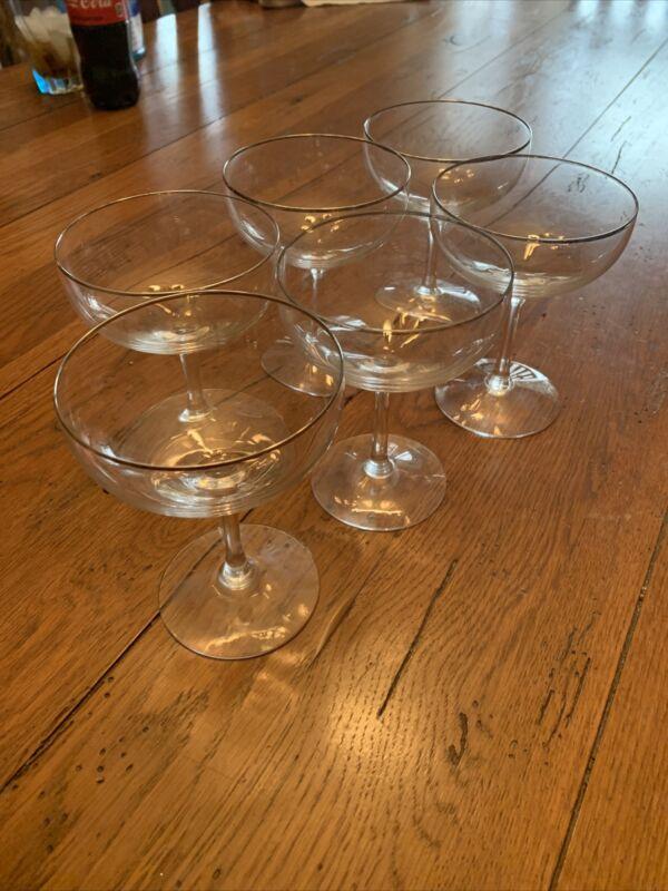 6 Vintage Champagne Coupe Crystal Glasses Fostoria Sherbet Stemware Barware