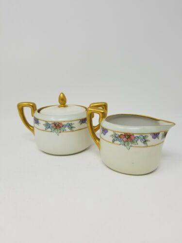 Antique Creamer and Sugar Set Japan? Gilt Art Deco Flower Porcelain Ceramic Tea
