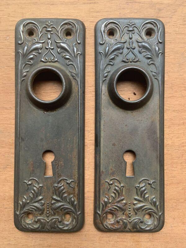 VINTAGE PAIR ART DECO STYLE FANCY METAL DOOR KNOB BACK PLATES