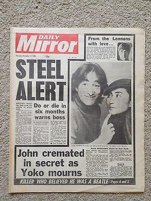 Daily Mirror newspaper 11th December 1980 John Lennon shooting. British Steel.