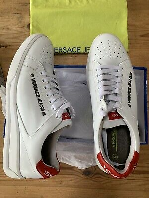 Versace Jeans White/Red leather Shoes/Trainers