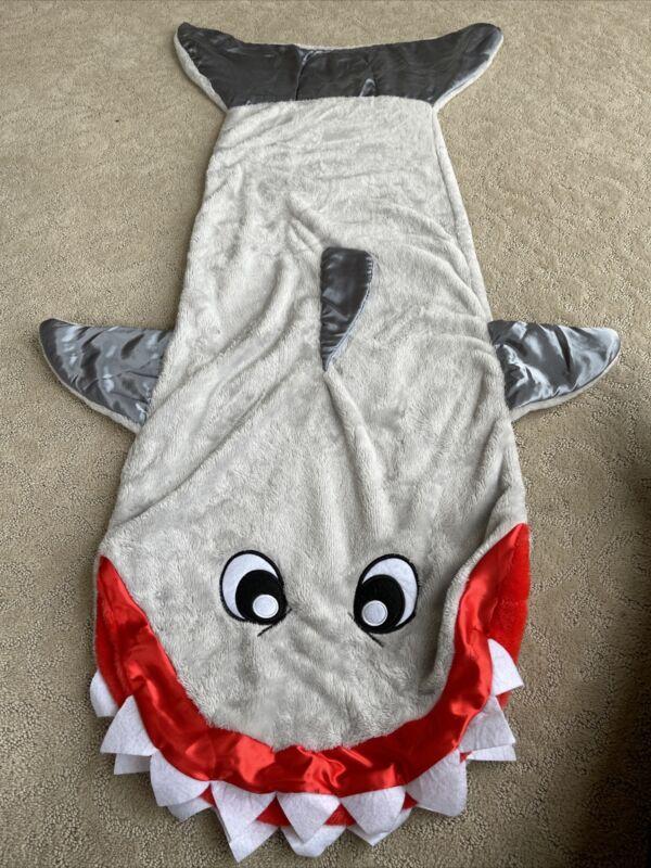 Snuggie Shark Blanket Gray Fleece Wearable Kids 54 X 18