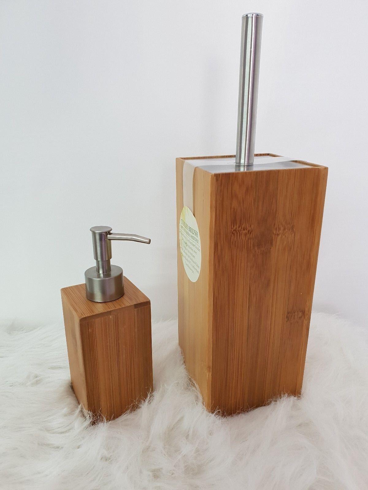 Badaccessoires Set Badset Bambus 2er Set WC Bürste Seifenspender