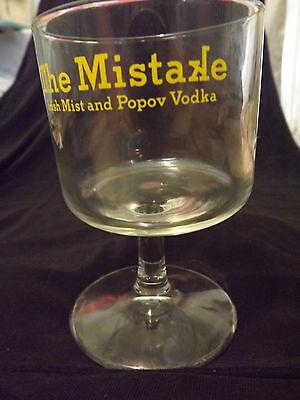 THE MISTAKE Irish Mist & Popov Vodka Cocktail Glass Footed Offset UNIQUE
