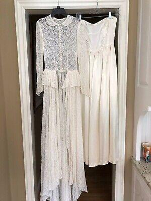 Vintage 2 piece Ivory Satin & Lace Wedding Dress
