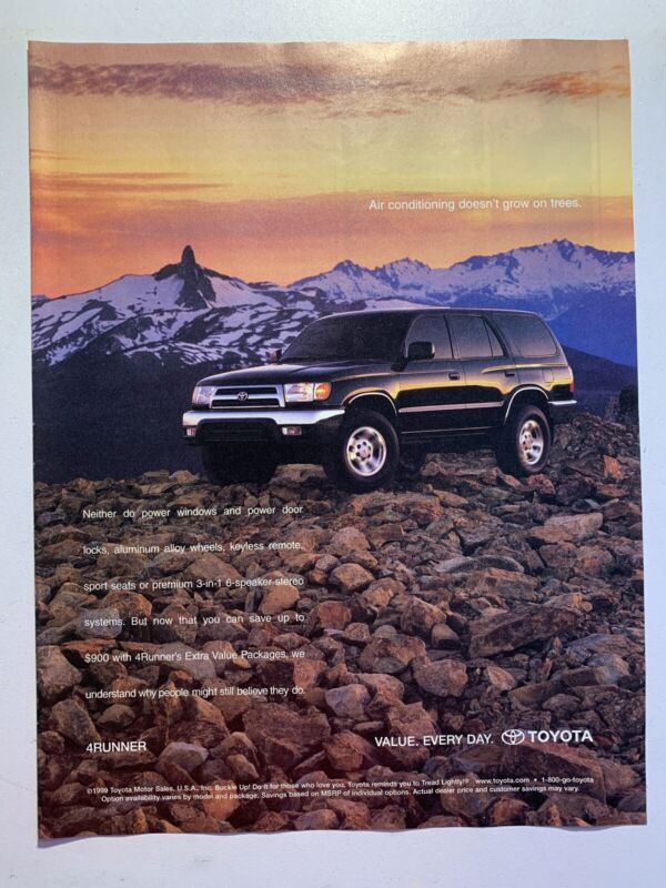 2000 Black TOYOTA 4RUNNER - Rocks - Snow - Mountains - Sunset - VINTAGE AD