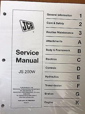 Jcb Service Js-200w Wheel Excavator Repair Manual