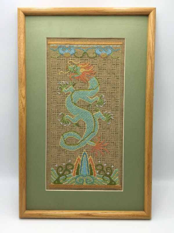 Vtg Chinese 5-Claw Dragon Artwork Needlepoint on Canvas Framed Rare M. Duckworth