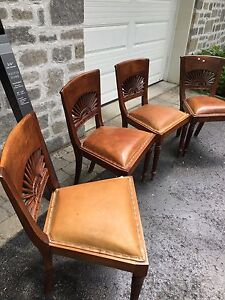4 Teak and leather chairs