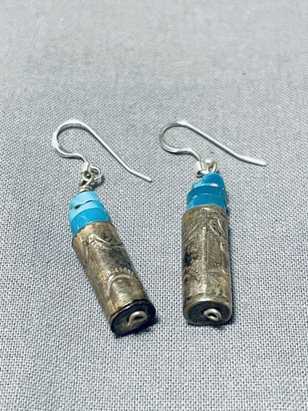 EXCEPTIONAL VINTAGE NAVAJO BLUE GEM TURQUOISE STERLING SILVER EARRINGS
