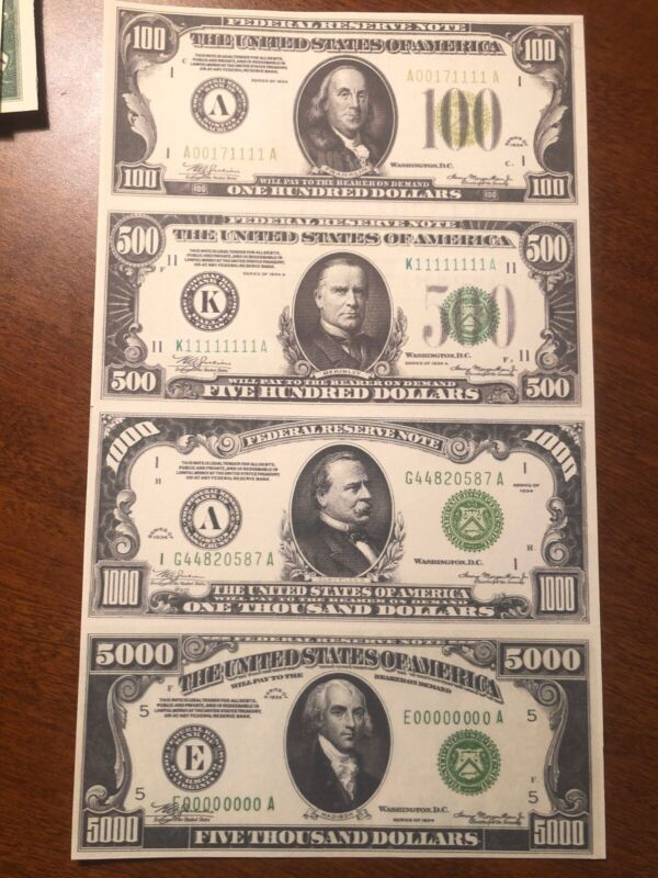 Copy 1934 Green Seal $100-$5,000 Uncut Reproduction Currency Money Sheet