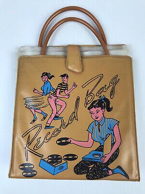 1950s Handbags, Purses, and Evening Bag Styles Retro Vinyl Record Carry Bag X 16 Sleeves $74.89 AT vintagedancer.com