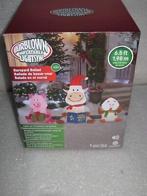 New Gemmy Barnyard Farm Animals Christmas Music Sound Airblown Inflatable Video - Music Inflatables