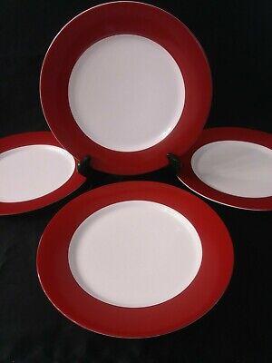 Lot of 4 CRATE & BARREL Aspen Red Rim Buffet Dinner Plates 10.5