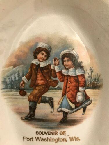 Lovely Antique Christmas Tray Children Skating Winter Port Washington Wisconsin