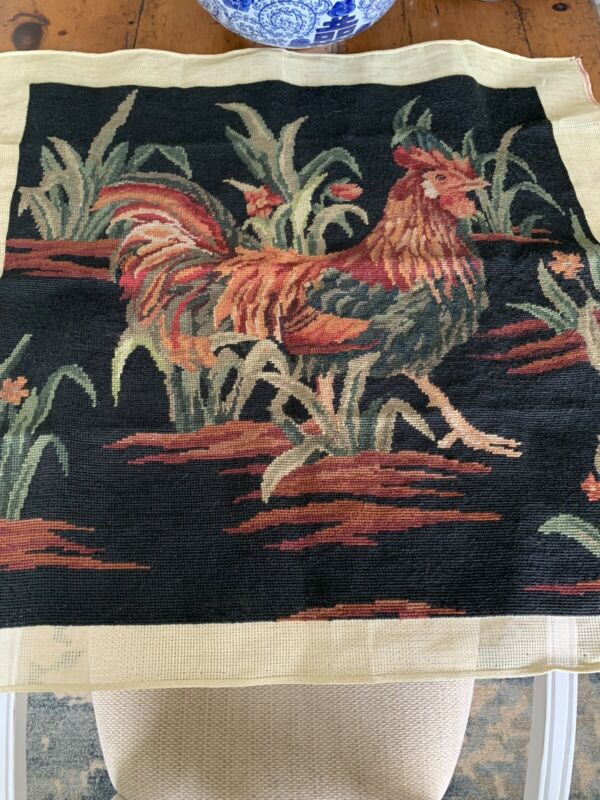 """Needlepoint Rooster Tapestry Wool Yarn 26"""" X 26"""""""