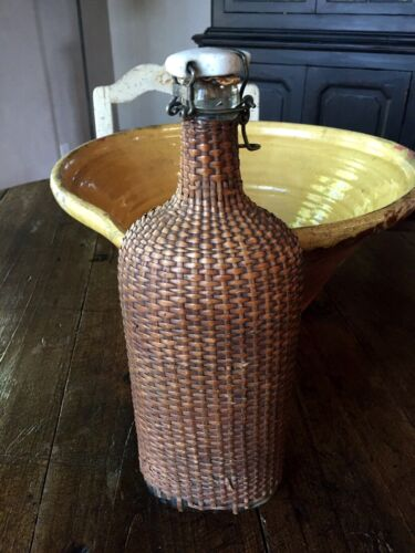 """Antique Wicker - Reed Wrapped/Covered Glass Bottle Flask w porcelain stopper 12"""""""
