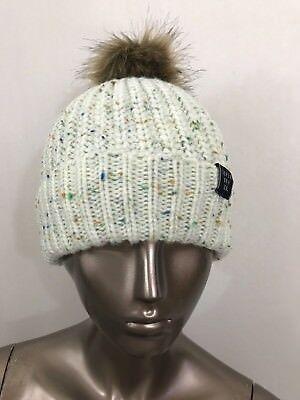 NWT Superdry women's Zoe fur pom pom beanie knit cream hat one size