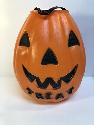 Vtg 1960s Empire Halloween Blow Mold Pumpkin 2 Sided Trick or Treat Pail - As Is