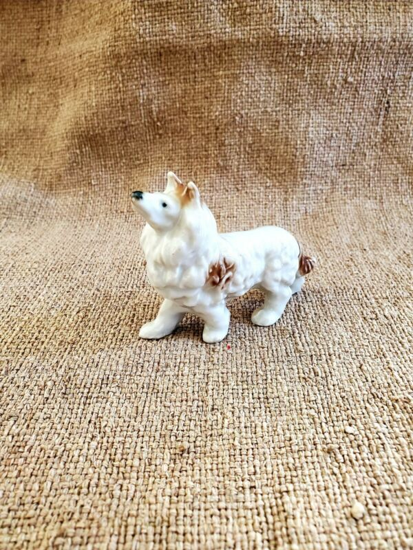 Vintage Rough Collie Dog Figurine Small Ceramic Animals Brown White Japan