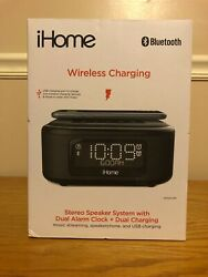 iHome IBTW23B Dual Charging Stereo Speaker System ~ Dual Alarm & Wireless Charge