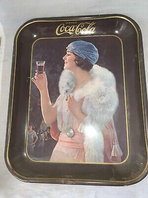 Vintage 1973 DRINK COCA COLA Metal Advertising Tray, FLAPPER GIRL Fox Stole