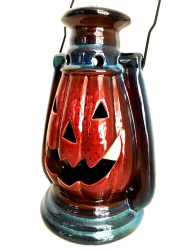 Stoneware Jack-O-Lantern Halloween Pumpkin Candle Holder Lantern 10 inches Tall