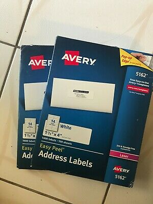Avery 5162 Easy Peel Mailing Labels Laser Labels 1 13 X 4 Whiteqty 1400new
