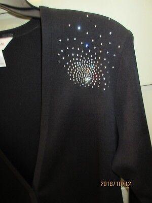 Misook Black Embellished Crystals Size L Bust 44 Length 28 Gorgeous Nwot
