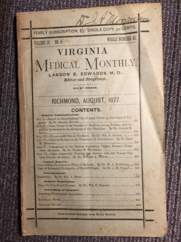 1877 Virginia Medical Monthly Aug. Richmond VA, Landon Edwards MD