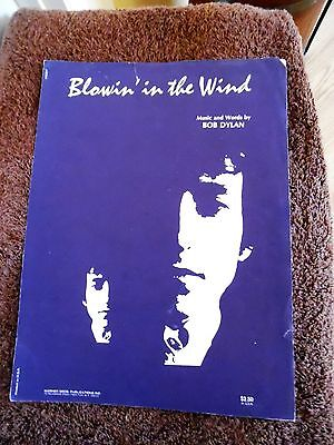 Vintage Blowin' in the Wind Bob Dylan Copyright 1970 Sheet Music