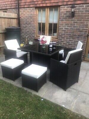 used rattan garden furniture set Brown