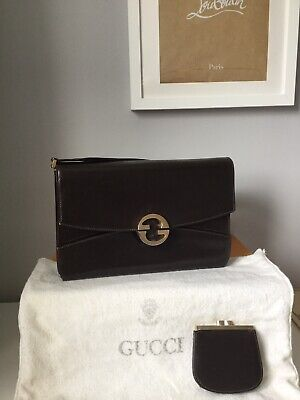 Vintage Gucci Bag And Matching Purse, Dark Brown With Dust Bag
