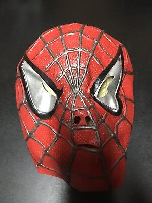 SPIDER-MAN MASK - 2002 MOVIE HALLOWEEN MASK RED/BLACK/SILVER