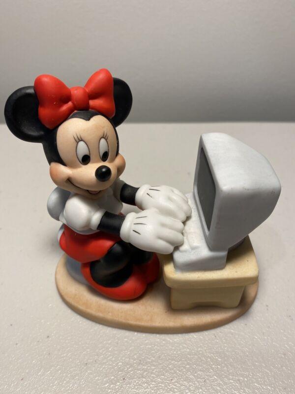 Minnie Mouse on Computer Figurine Vintage Licensed Walt Disney Porcelain EUC!
